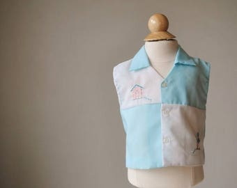 ON SALE 1960s Embroidered Tin Soldier Shirt, Size 9 Months