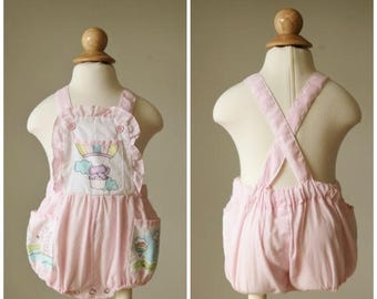 ANNIVERSARY SALE 1980s Elephant Stripe Sunsuit >>> Size 6 to 12 Months