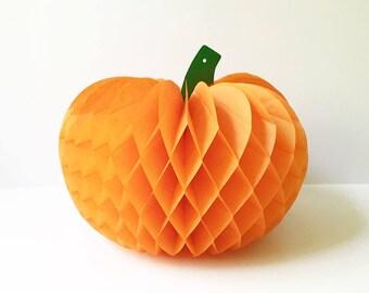 Halloween Decoration Pumpkin Orange Pumpkin Honeycomb Pumpkin Holiday Decor Vintage Tissue Pumpkin