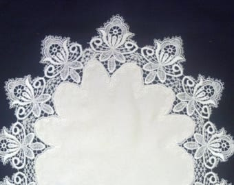 Vintage Lace Table Runner or Dresser Scarf or Coffee Table Runner Embroidered on Fabric Various sizes