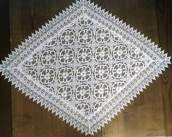 """45"""" x 27"""" Diamond Table Runner or Dresser Scarf with Sheer Geometric Lace in the Antique White Fabric"""