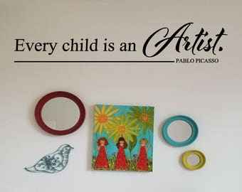 Every child is an Artist wall decal, create draw paint children's wall decal, kids artwork display, art teacher room decal sticker, playroom