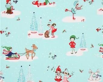 FABRIC CHRISTMAS PIXIE Noel Main Print on Aqua by Riley Blake  1/2 Yard    We combine shipping