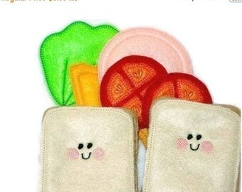 SALE Pretend play felt food Smiley face sandwich #PF2501SMILEY