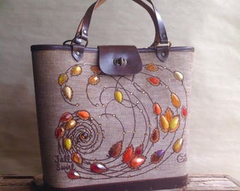 Vintage Enid Collins Purse Fall Swirl Jeweled Handbag Autumn Accessory