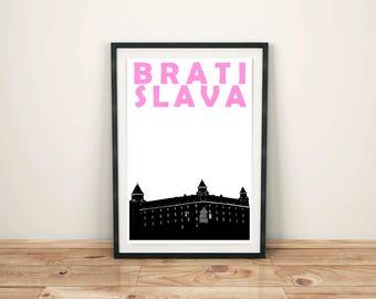 Bratislava Print // Slovakia Art Print // City Poster // Bratislava Art // Bratislava Poster // Slovakian Art // Slovakian Poster