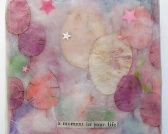 encaustic painting, abstract encaustic, balloons, money plant, seed pod art, purple pink art