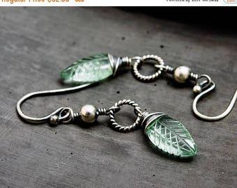 Fluorite Leaf Earrings, Gemstone Jewelry, Sterling Silver Earrings