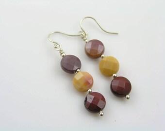 Mookaite Earrings, Sterling Silver Earrings, Australian Gemstone Earrings, Australian Jewelry, Jasper Earrings, Mookaite Jewelry, E664