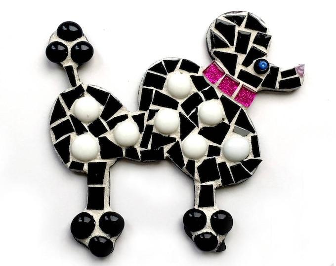 Large Poodle Magnet, Mosaic Poodle, Black Poodle Magnet, Polka Dot Poodle, Mixed Media Poodle Art, Mosaic Poodle Dog Wall Hanging
