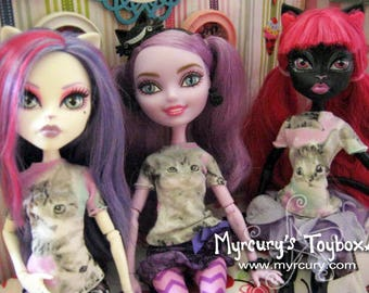 Adorable Kitten T-Shirts for Dolls! Hand stitched, no two exactly alike! Cute clothing for Monster or Ever After Dolls to wear!