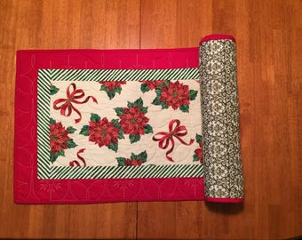 Poinsettia and Ribbon Table Runner Quilted, Christmas Table Topper, Holiday Red, Long Arm Machine Quilting, Cotton Fabric