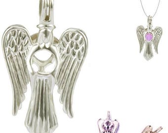 10 * Cages 28x17mm ANGEL pearl ~5-6mm bead religious spiritual silver-plated pendant - MERZIEs SHIPs from USA * Combined Shipping