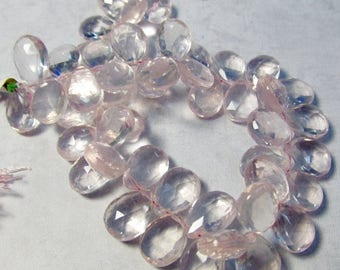 SALE 20% Off AAA Natural Rose Quartz Briolette Beads, Pristine Clarity, Large Size 12mm 13mm , Many Possible Matched Pairs