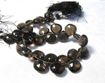 20% OFF SALE Natural Smokey Quartz Briolette Beads 10mm 11mm, Natural Smoky Quartz Gemstone Briolette Beads