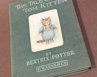Tale of Tom Kitten Beatrix Potter Frederick Warne 1930s vintage childrens book . bedtime story . antique book Mittens Moppet Puddle Ducks
