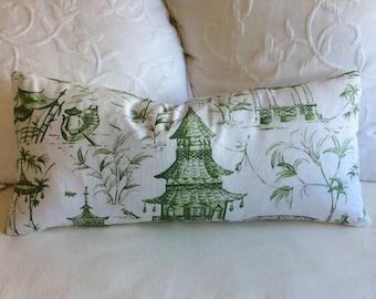 PAGODAS in jade green 12x26 pillow, includes insert