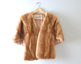 Vintage Mink Cape  | 1940s Capitol Furs Genuine Mink Stole Wrap | Bridal Fur Wrap
