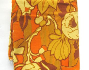 Vintage 1960s MOD FLORAL Upholstery Fabric - Orange Gold Browns / Woodco Screen Print VAT Colors