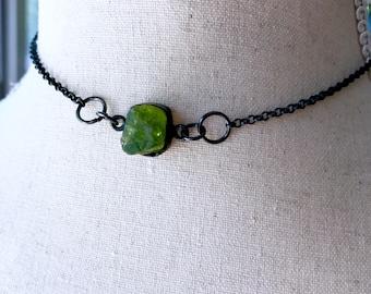 Peridot choker necklace   raw peridot necklace   peridot pendant   August birthstone necklace   Green stone necklace
