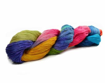 150 Yards Hand Dyed Cotton Crochet Thread Size 10 3 Ply Antique Rainbow Yellow Green Blue Red Violet Orange Fine Cotton Yarn