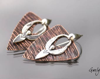 Keen - boucles d'oreille cuivre martelé et Silhouette argent - Esprit africain - Bohême - bo Gaelys