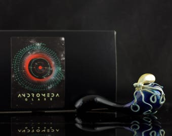 Octopus Glass Pipe / Sherlock Pipe  / Glass Pipe / Fuming Glass / Heady Glass / Black & Caramel / Ready to Ship #501