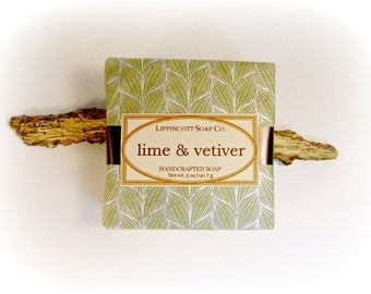 Lime & Vetiver Soap, Cold Process Soap, Handmade Soap, Bar Soap, Men's Soap, Palm Oil Free, Lime, Sage, Cinnamon, Vetiver, Phthalate Free
