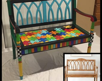 Whimsical Painted Furniture, Whimsical Painted Bench, Custom Painted Bench, Kids  Painted Chair