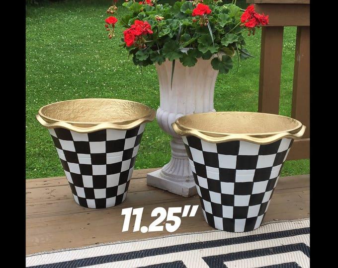 "Whimsical Painted Planters pots // 11.25"" Terra Cotta pots //scalloped edge planters"