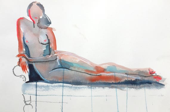 Nude painting- Original watercolor painting of Nude #1438 by Gretchen Kelly