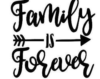 Family is Forever Vinyl Car Decal Bumper Window Sticker Any Color Multiple Sizes Jenuine Crafts