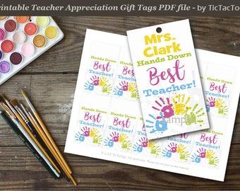 Hand Print Editable Best Teacher Appreciation Gift Tag, Teacher Gift Tag, Teacher Printable, DIY Printable - Instant Download