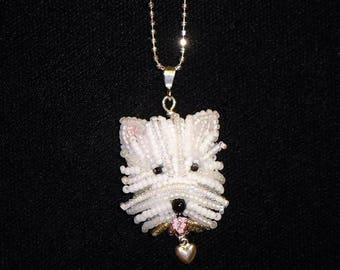 WESTIE sterling silver necklace, beaded West Highland White Terrier pendant dog jewelry/ Made to Order