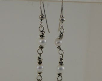 Sterling Silver and Pearl Chandelier Earrings