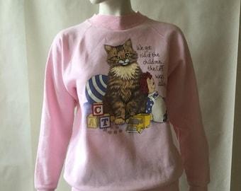 70% off FINAL MOVING SALE Cat and Raggedy Ann sweatshirt, pink with multicolor screenprint, by Hep Cat, Nashville Tn, men's medium / women's