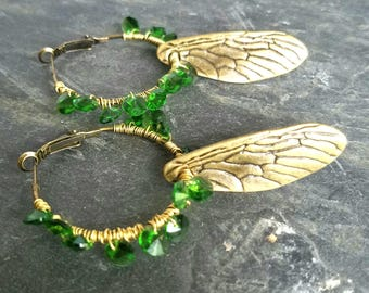 Emerald Green Cicada Wing Earrings, Green Swarovski Crystals, Brass Hoops, Boho, Bohemian