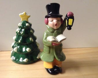 Vintage Holiday Figures - Caroler and Tree