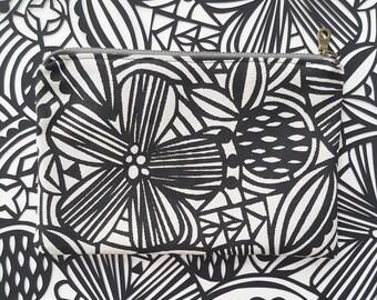 Zippered Pouch: Organic Screenprinted Fabric in Black