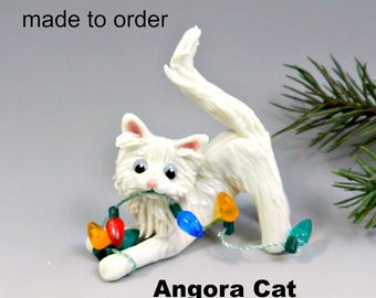 Angora Cat Christmas Ornament Figurine Made to Order in Porcelain