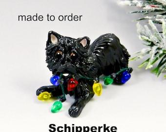 Schipperke Made to Order Christmas Ornament Figurine in Porcelain