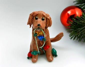 Red Golden Retriever Christmas Ornament Figurine Lights Porcelain
