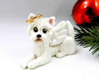 Angel Westie West Highland White Terrier  Christmas Ornament or Figurine in Porcelain Clay