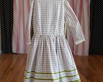 Vintage Girl's Dress  - Adorable Little Paisley Print Pink Green Built in Slip