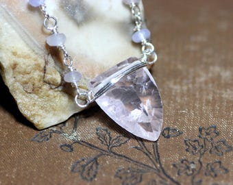 Rose Quartz Necklace Gemstone Shield Sterling Silver Wire Wrapped Quartz Pendant Necklace Pink Necklace Luxe Rustic Jewelry
