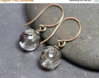 SALE Rutilated Quartz Earrings Golden Rutile Earrings Rustic Jewelry Antiqued Brass Earrings Rustic Jewelry
