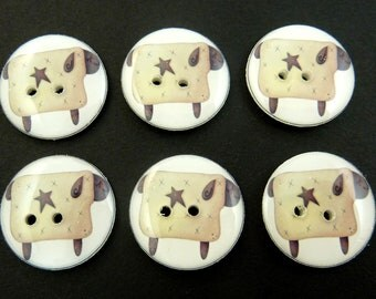 "6 Primitive Sheep Buttons. Handmade Country Sewing Buttons.  3/4"" = 20 mm."