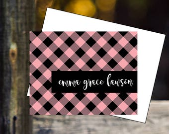 Personalized custom stationery  encouragement princess notecards thank you notes birthday gifts pink black plaid