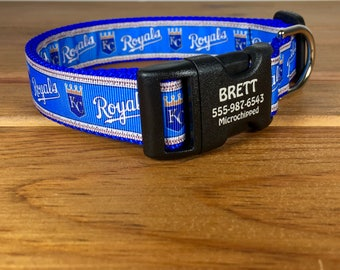 Kansas City Royals Dog Collar Pet Identification Permanent Laser Engraved 1 Inch Wide Style You Pick Size  MLB Fans Made In USA  Funky Mutt