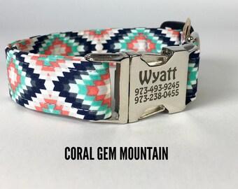 Coral Mint Dog Collar, Funky Mutt Collars, Dog Collars on Etsy, Cute Dog Collar, Geometric Dog Collar, Quality Dog Collars, Stylish Collars